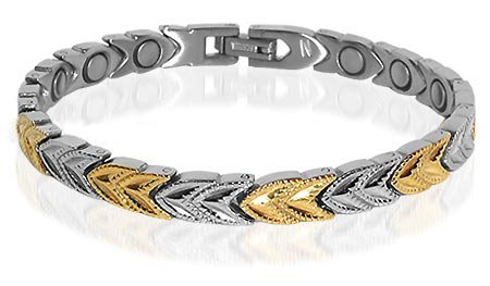Two Tone Stainless Steel Magnetic Womens Bracelet 7.5