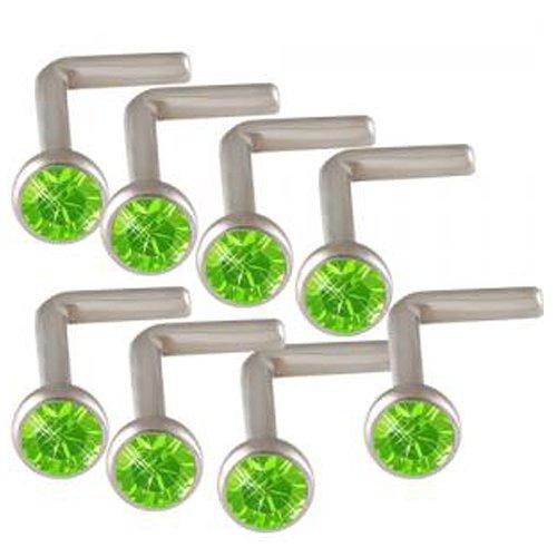 18g 18 gauge 1mm Peridot Crystals Steel nose ring stud screw bone bar ACHN Body Piercing Jewellery 8Pcs