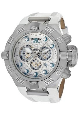 Invicta 10161 Mens Reserve Subaqua Noma III Chronograph White Dial Leather Strap 500M Watch