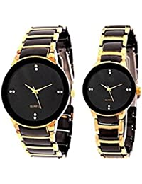 AKAG Round Analogue Couple Watch Couple Watch - A-IK-GOLD-CPL-25