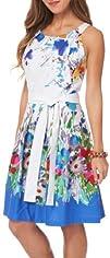 R   K Colorful Floral Border Print Belted Dress