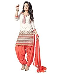 Traditional Fashion Special Offer Orange and Off White Embroidered Cotton Patiyala Pattern Semi Stitched Salwar Suit with Dupatta