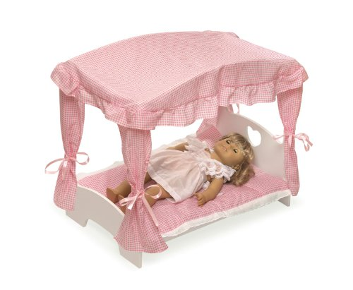badger basket canopy doll bed with bedding fits american