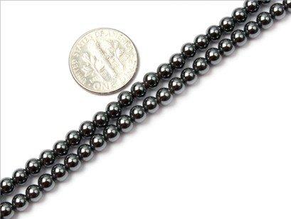 4mm round Black Hematite beads strand 15
