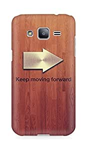 Amez designer printed 3d premium high quality back case cover for Samsung Galaxy J2 (Keep moving forward blue quote tree texture)