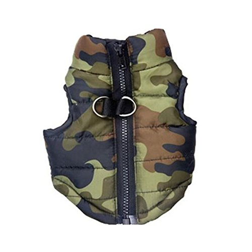 WINOMO Cane Giubbotto Imbottito di Cotone Abbigliamento Cappotto Senza Maniche Giacca - Taglia L (Camuffare)