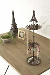 Eiffel - Brown Metal Tower Stand with Tray for Jewelry and Accessories, Modern Jewelry Organizer