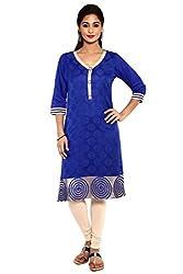 Aaboli Royal Blue Chanderi Straight Long Kurta