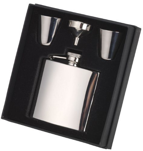 118.3ml classico tinta unita hip flask set, con con cerniera vite top, due coppe e un imbuto (R3115)
