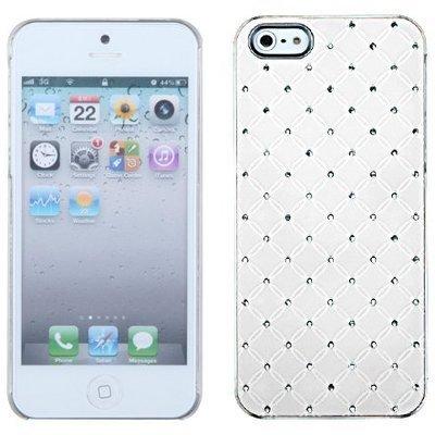 4C Luxurious White Lattice Pattern With Diamond Rhinestone Bling Chrome Case For Apple Iphone 5