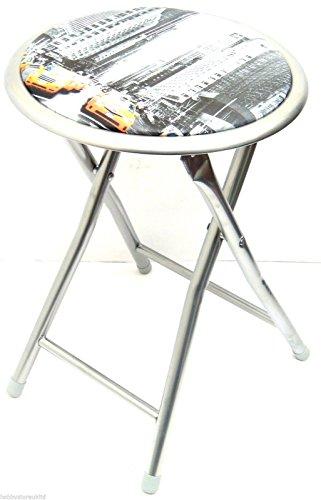 New York, Design Sgabello pieghevole Sgabello Sedia pieghevole Chair-Sgabello rotondo con cuscino da seduta per sedia