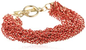 """Kenneth Cole New York """"Modern Clementine"""" Coral and Gold Diamond Cut Multi-Chain Toggle Bracelet, 7.5"""""""