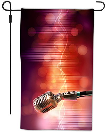 Rikki Knighttm Vintage Audio Microphone On Red Retro Style Design Garden Flag With Sturdy Black Wrought Iron Flag Pole (Proudly Made In The Usa)