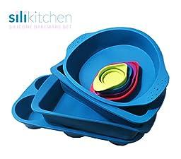 Silikitchen 8 Piece Silicone Bakeware Mold Set