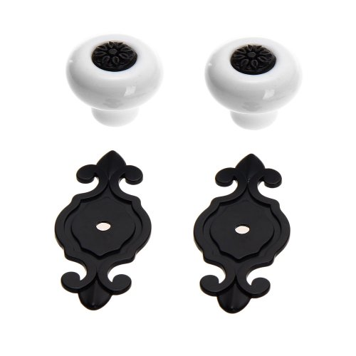 Set Of 2 Cabinet Drawer Dresser Door Knobs Pull Handle Ceramic Zinc Alloy front-564112