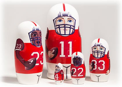 """Red Football Doll 5pc./6"""""""