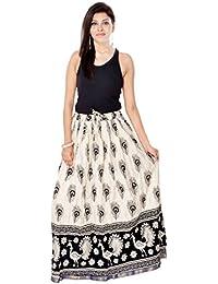 Cally Rajasthani Jaipuri Printed Full Length Regular Fit Women's Ethincwear Cotton Skirt - B06XKB3DT5