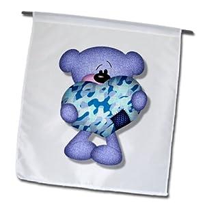 fl_102687_1 Dooni Designs Cute Bears - Cute Blue Camo Heart Bear Graphic - Flags - 12 x 18 inch Garden Flag