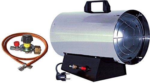 Gas-Heizkanone Gasheizer Gasheizgerät 15 KW Edelstahl inkl. regelbarem Regler mit integrierter Schlauchbruchsicherung , Schlauch GT150E