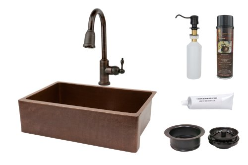 Premier Copper Products KSP2_KASB33229 33-Inch Hammered Kitchen Apron Single Basin Sink with Pull Down Faucet, Antique Copper