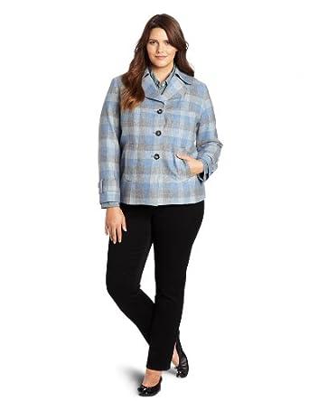 Pendleton Women's Plus-Size Trench Detail Jacket, Blue Check Plaid, 16W