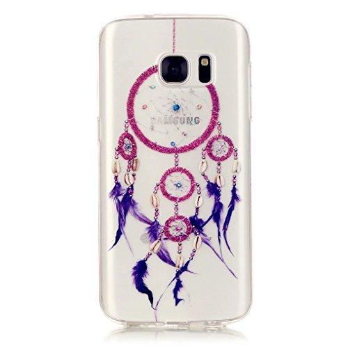 Cas de téléphone TKSHOP Coque pour Samsung Galaxy S7 Case Cover Transparent TPU Silicone Housse Etui Résistant aux rayures Protecteur - Violet