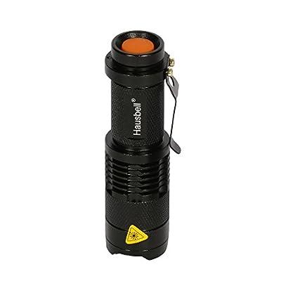 Hausbell® 7W Mini LED Flashlight 300LM Torch Adjustable Focus Zoom Light Lamp Black