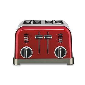 Cuisinart CPT-180MR 4 Slice Classic Metal Toaster, Metallic Red