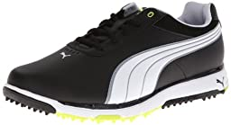 PUMA Men\'s Faas Grip 2.0 Golf Shoe,Black/White/Fluorescent Yellow,9 M US