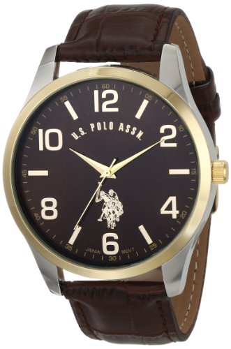US-Polo-Assn-Classic-Mens-USC50225-Watch-with-Brown-Faux-Leather-Strap