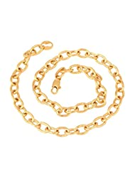 The Jewelbox Gold Plated Oval Belcher Anchor Links Chain 18""