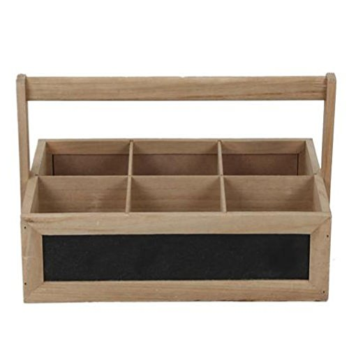 Fun Daisy Wooden Bottle Holder 6 Compartment Crate With Handle Home Storage Milk Wine