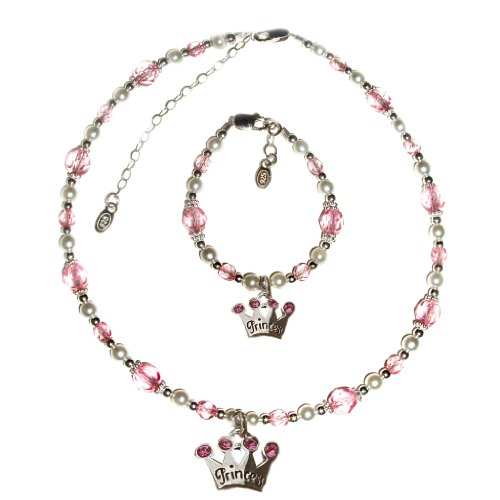 """Sterling Silver Children's Princess Jewelry Necklace and Bracelet Set for Girls, Freshwater Pearls & Pink Swarovski Crystals and Tiara Charm in Heart Gift Box, 6-11 years (Necklace 12-14"""" and Bracelet 6 - 6.5"""" adjustable)"""