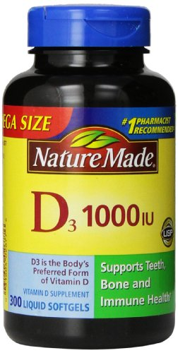 Nature Made Vitamin D3 1000 IU, Mega Size, 300-Count Liquid Softgels (Nature Made Vitamin D3 1000iu compare prices)