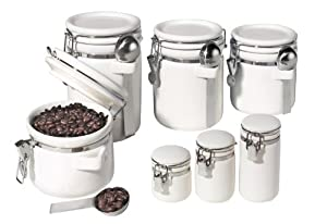 Oggi 7 Piece Ceramic Airtight Canister Set White Kitchen Storage And Organization