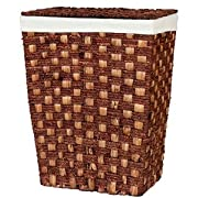 Woven Laundry Hamper with Lid Espresso