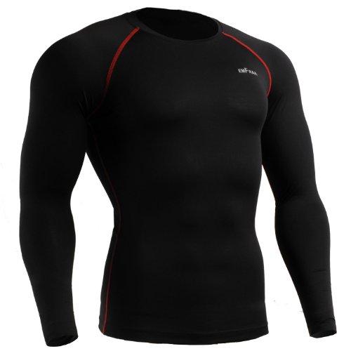 emFraa Men Women Skin Tight Baselayer T Shirt Running Black Top Longsleeve S ~ 2XL