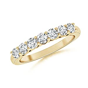Seven-Stone Diamond Wedding Band in 14K Yellow Gold