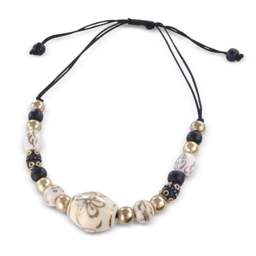 Wow this gorgeous Costume Jewellery Black and Gold Beaded Necklace threaded through a pull cord adjustable rope- Includes pretty gift bag - Ideal jewellery present - Womens Costume jewellery necklace.