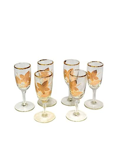 Uptown Down Set of 6 Vintage Leaf Glasses, Gold/Clear