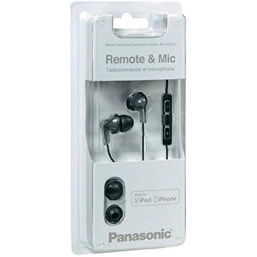 Panasonic HJC120E-K Auricolari in ear con microfono, controllo i-Pod/i-Phone, risposta in frequenza 20Hz-20kHz, Impedenza 16Ohm, sensibilità 96dB/mW, Black