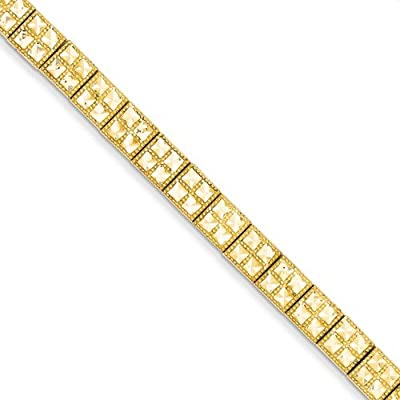 """Solid 14k Yellow Gold 7 Inch Diamond Cut Fancy Unique Etched Bracelet - with Secure Lobster Lock Clasp 7"""""""