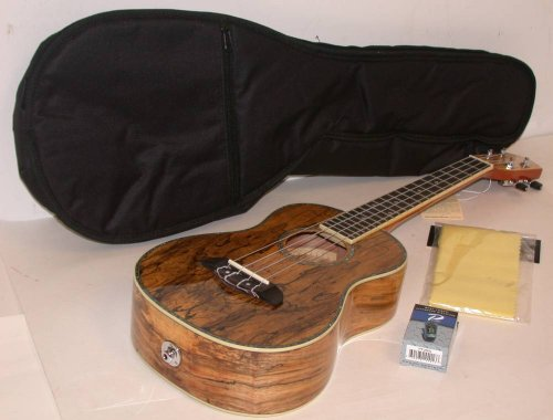 Oscar Schmidt Spalted Mango Tenor Acoustic/Electric Ukulele, Ou7Te, Includes Tms Polishing Cloth, Padded Gig Bag & Profile Digital Clip-On Tuner