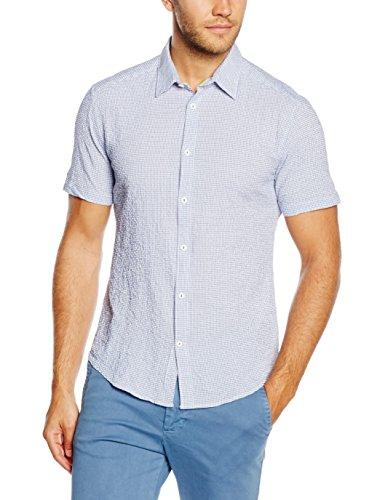 ESPRIT Searsuck Str Ss - Camicia a maniche corte Uomo, Blu, Large