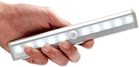 OxyLED® T-02 DIY Stick-on Partout Portable 10-LED Sans Fils Détecteurs de Mouvement LED de Placard Lampe Nocture / Lampe Escalier / Lampe Etape avec bande magnétique (Alimenté par les Piles)-D'argent