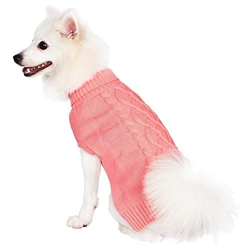 Blueberry Pet 12-Inch The Classy Cable Knit Rosy Dog Sweater, Medium, Pink front-934776
