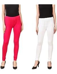 PRASITA Fashion Women's Cotton Lycra Churidar Leggings Pack Of 2(PINK/WHITE)