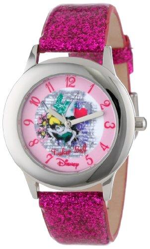 Disney Kids' W000988 Tween Tinker Bell Stainless Steel Dark Pink Glitter Leather Strap Watch