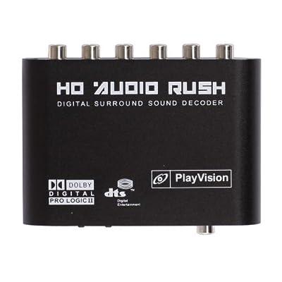 Generic Digital Dolby DTS/AC-3 Optical to 5.1-Channel RCA Analog Audio Gear Sound Decoder SPDIF