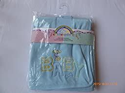 Fleece Baby Blanket with Embroyiered Animal (Blue with Dog)